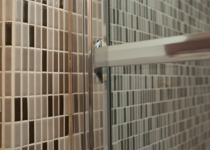 Custom tile, shower door