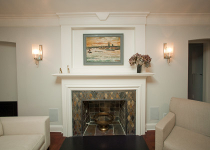 Living room remodel with slate hearth