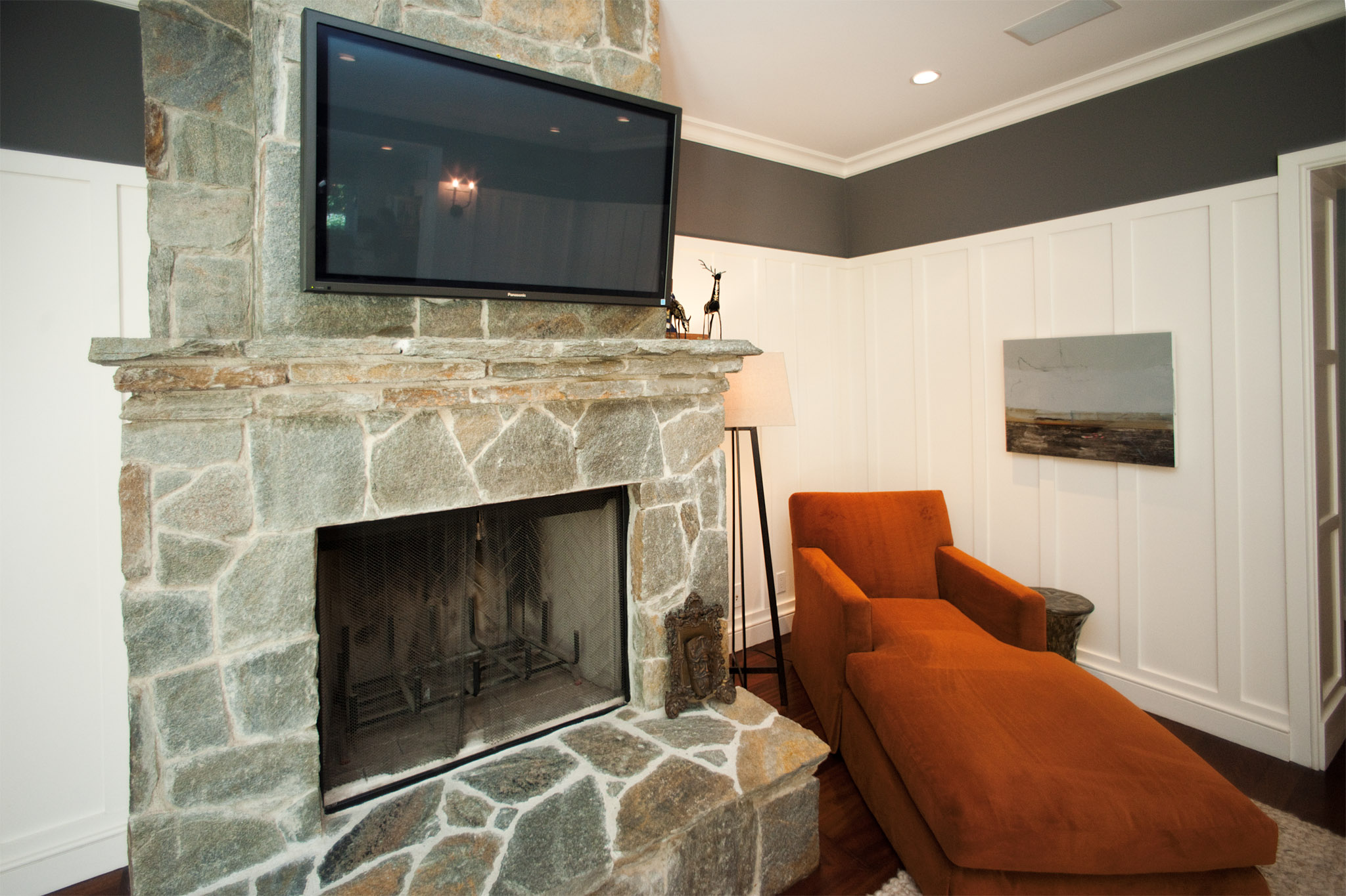 nexxus remodelliving roomstone fireplace